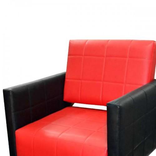 Професионален стол за фризьорски салон M401, черен-червен