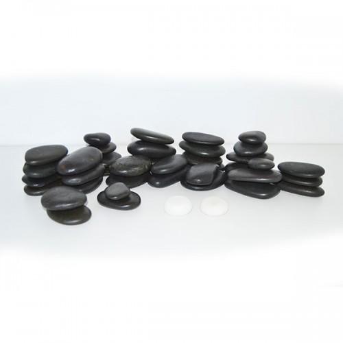 Комплект базалтови вулканични камъни за масаж - 40 броя