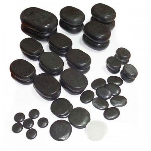 Комплект базалтови вулканични камъни за масаж - 50 броя