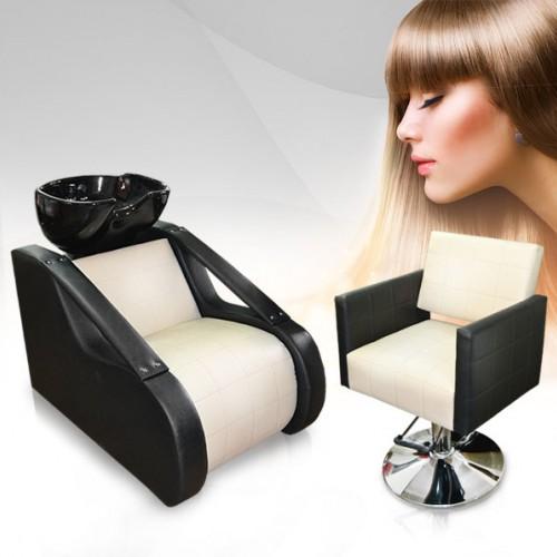 Луксозен фризьорски комплект – измивна колона и фризьорски стол