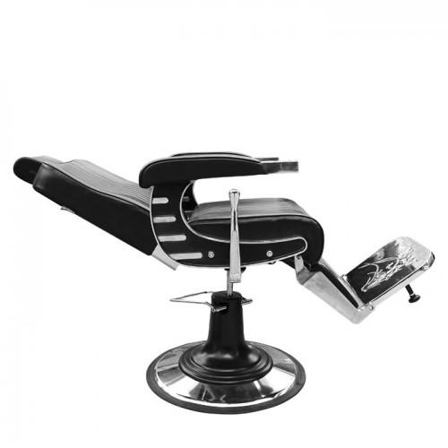 Черен бръснарски стол с бели шевове IM237