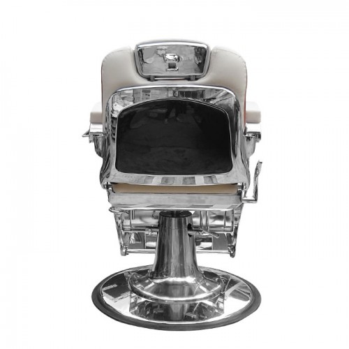 Бръснарски стол в бяло и кафяво IM243