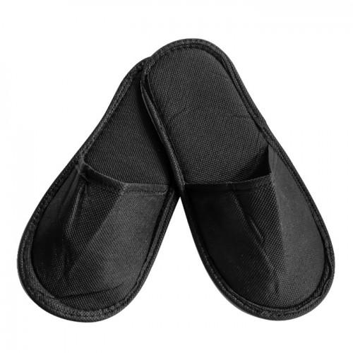 Плътни чехли от нетъкан текстил с твърда подметка, Черен