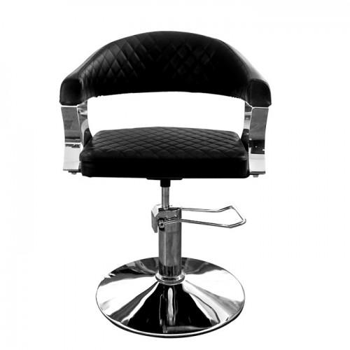 Черен фризьорски стол с ромбоидни шевове N608