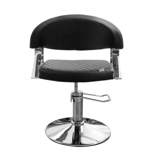 Черен фризьорски стол с ромбовидни шевове N608