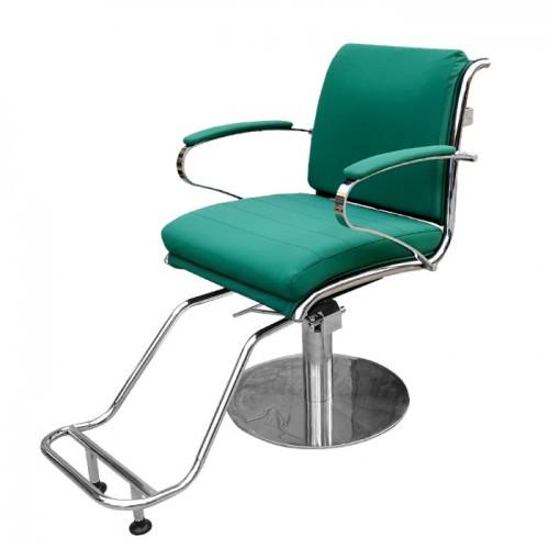 Фризьорски стол в зелено със стойка за крака IM203