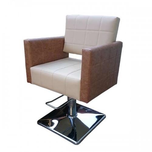 Професионален стол за фризьорски салон M401, бежов-кафяв