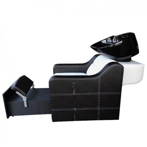 Измивна колона със стойка за педикюр 2 в 1 модел 810 плюс, черно-бяла
