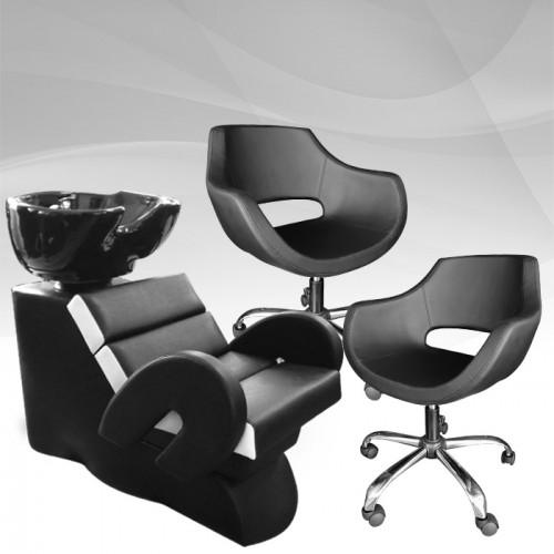 Комплект с оборудване за фризьорски салон с два стола Cardinal