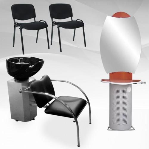 Фризьорски пакет - измивна колона, огледало и 2 стола за посетители