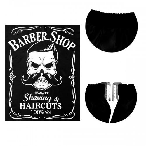 Пелерина за подстригване в черен цвят с щампа